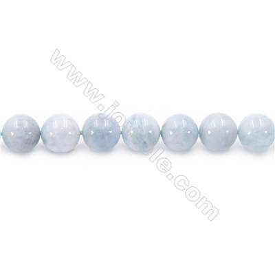 Natural Aquamarine Beads Strand Round  diameter 8mm  hole 1mm  about 42 beads/strand 15~16""