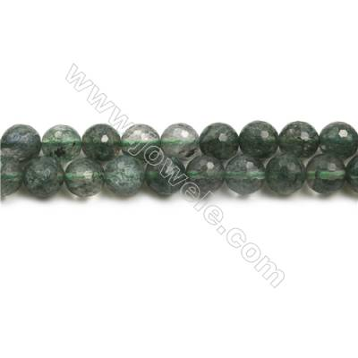 "Green Phantom Quartz Beads Strands, Faceted Round, Size 10mm, Hole 1mm, 15~16""/strand"