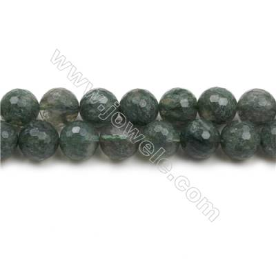 "Green Phantom Quartz Beads Strands, Faceted Round, Size 14mm, Hole 1mm, 15~16""/strand"