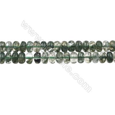 "Green Phantom Quartz Beads Strands, Abacus, Size 4x8mm, Hole 0.8mm, 15~16""/strand"
