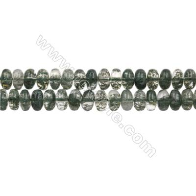 "Green Phantom Quartz Beads Strands, Abacus, Size 6x10mm, Hole 1mm, 15~16""/strand"