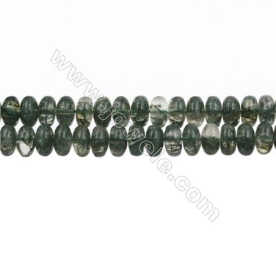 "Green Phantom Quartz Beads Strands, Abacus, Size 6x12mm, Hole 1mm, 15~16""/strand"