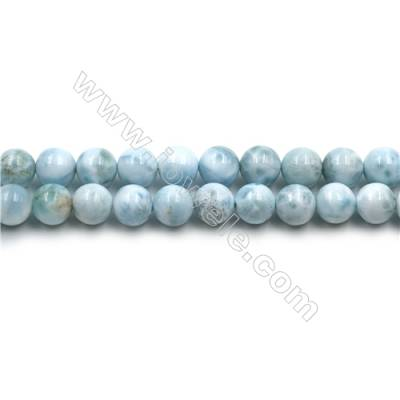 "Grade A Natural Copper Pectolite/ Larimar Beads Strands, Round, Size 8mm, Hole 0.8mm, 15~16""/strand"