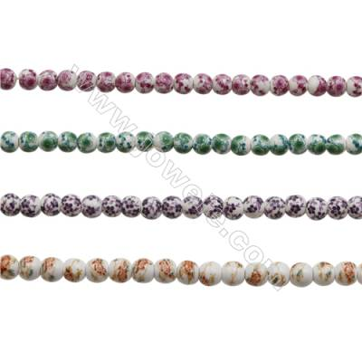 Handmade Mix Color Porcelain/Ceramic Beads Strands, Round, Diameter 6mm, Hole 2mm, about 70 beads/strand 15~16""