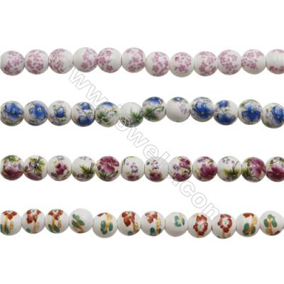 Handmade Mix Color Porcelain/Ceramic Beads Strands, Round, Diameter 10mm, Hole 2mm, about 40 beads/strand 15~16""