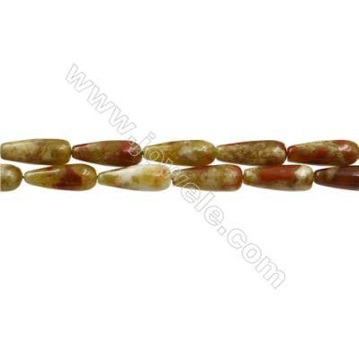 "Natural Green Serpentine Beads Strands, Teardrop, Size 6x16mm, Hole 0.8mm, 15~16""/strand"