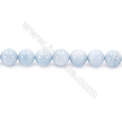 Natural Aquamarine Beads Strand Round  diameter 12mm  hole 1.5mm  about 33 beads/strand 15~16""
