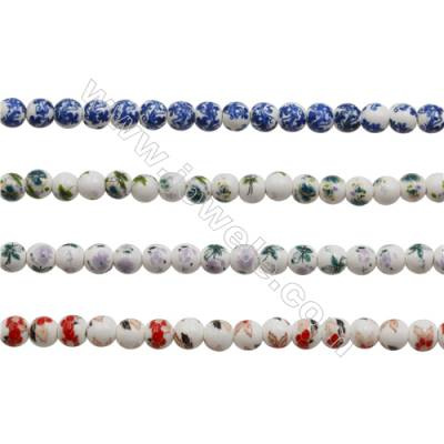 Handmade Mix Color Porcelain/Ceramic Beads Strands, Round, Diameter 8mm, Hole 2mm, about 50 beads/strand 15~16""