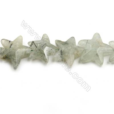 "Natural Prehnite Faceted Beads Strands, Stars, Size 30x35mm, Hole 0.8mm, 15~16""/strand"