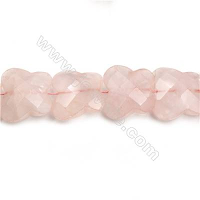 "Natural Rose Quartz Faceted Beads Strands, Butterfly, Size 30x33mm, Hole 0.8mm, 15~16""/strand"