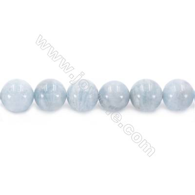 Natural Aquamarine Beads Strand Round  diameter 14mm  hole 1.5mm  about 31 beads/strand 15~16""