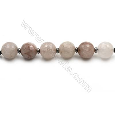 "Natural Rose Quartz Faceted Beads Strands, Large Round Beads, Size 30mm, Hole 4.5mm, 15~16""/strand, 6 beads"
