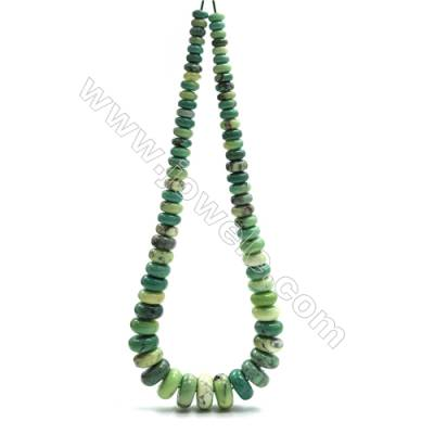 "Natural Green Moss Agate Tower Chain, Abacus, Size 4~9x8~18mm, Hole 0.8mm, 15~16""/strand, 71 beads"