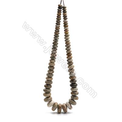"Natural Fossil Coral Jasper Tower Chain, Faceted Abacus, Size 4~9x8~18mm, Hole 0.8mm, 15~16""/strand, 71beads"