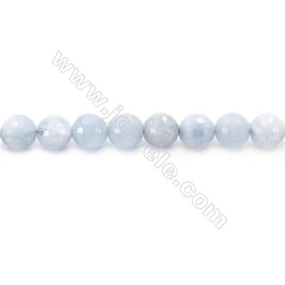 Natural Aquamarine Beads Strand Faceted Round  Diameter  8mm  hole 1mm  about 48 beads/strand 15~16""