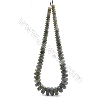 "Natural Labradorite Beads Tower Chain, Abacus, Size 4~9x8~18mm, Hole 0.8mm, 15~16""/strand, 71 beads"