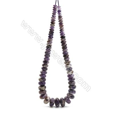 "Natural Dogtooth Amethyst Beads Tower Chain, Abacus, Size 4~9x8~18mm, Hole 0.8mm, 15~16""/strand, 71 beads"