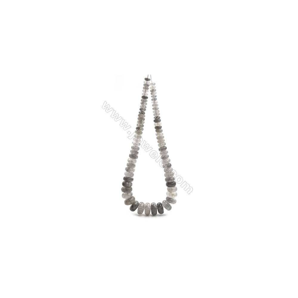 """Natural Cloud Quartz Beads Tower Chain, Abacus, Size 4~9x8~18mm, Hole 0.8mm, 15~16""""/strand, 71 beads"""