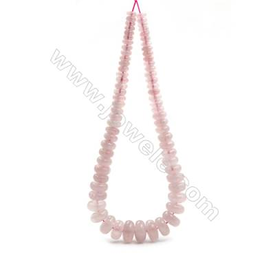 "Natural Rose Quartz Beads Tower Chain, Abacus, Size 4~9x8~18mm, Hole 0.8mm, 15~16""/strand, 71 beads"