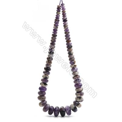 "Natural Dogtooth Amethyst Beads Tower Chain, Faceted Abacus, Size 4~9x8~18mm, Hole 0.8mm, 15~16""/strand, 71 beads"