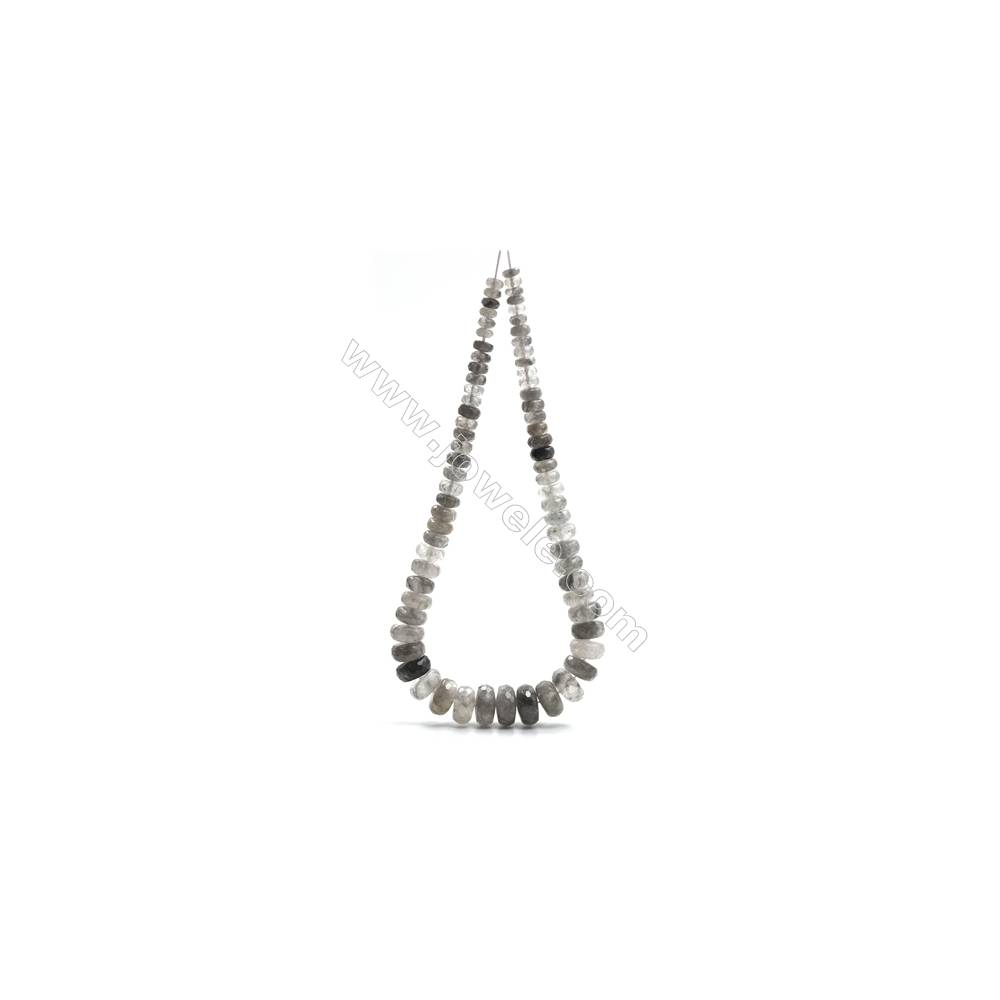 "Natural Cloud Quartz Beads Tower Chain, Faceted Abacus, Size  4~9x8~18mm, Hole 0.8mm, 15~16""/strand, 71 beads"