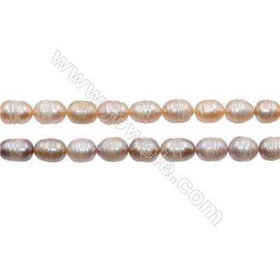 "Multicolor Natural Fresh Water Pearl, Size 8~9mm, Hole 0.7mm, 15~16""/strand"