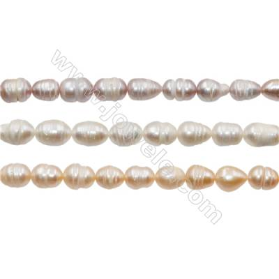 "Multicolor Natural Fresh Water Pearl, Size 8~9mm, Hole 0.7mm, 13~14""/strand"