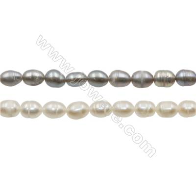 "Multicolor Natural Fresh Water Pearl, (Dyed), Size 6~7mm, Hole 0.7mm, 15~16""/strand"