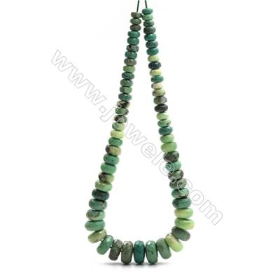 "Natural Green Moss Agate Tower Chain, Faceted Abacus, Size 4~9x8~18mm, Hole 0.8mm, 15~16""/strand, 71 beads"