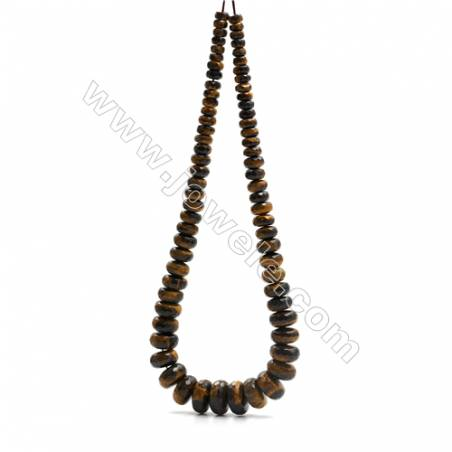 "Natural Yellow Tiger's Eye Beads Tower Chain, Faceted Abacus, Size 4~9x8~18mm, Hole 0.8mm, 15~16""/strand, 71 beads"