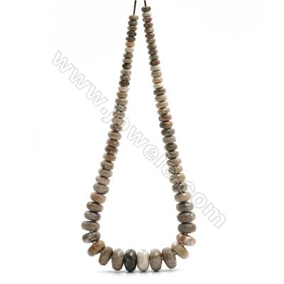 """Natural Fossil Coral Jasper Tower Chain, Faceted Abacus, Size 4~9x8~18mm, Hole 0.8mm, 15~16""""/strand, 71 beads"""