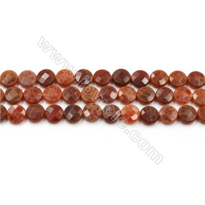 "Natural Fire Agate Beads Strands, Flat Round, Faceted, Size 10mm, Hole 0.8mm, 15~16""/strand"