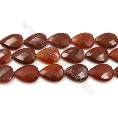 "Natural Fire Agate Faceted Beads Strands, Flat Teardrop, Size 22x30mm, Hole 1mm, 15~16""/strand"