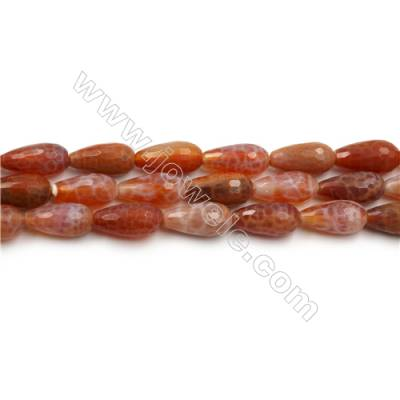 "Natural Fire Agate Faceted Beads Strands, Teardrop, Size 8x15mm, Hole 1mm, 15~16""/strand"