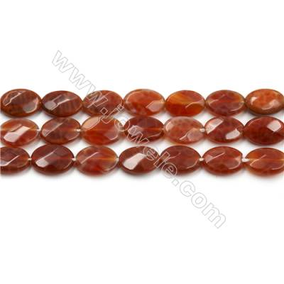 "Natural Fire Agate Faceted Beads Strands, Flat Oval, Size 8x12mm, Hole 0.8mm, 15~16""/strand"