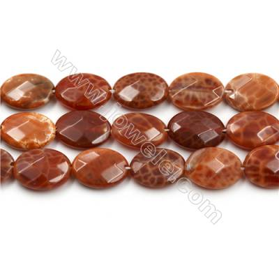 "Natural Fire Agate Faceted Beads Strands, Flat Oval, Size 13x18mm, Hole 0.8m, 15~16""/strand"