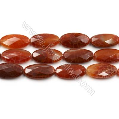 "Natural Fire Agate Faceted Beads Strands, Flat Oval, Size 15x30mm, Hole 0.8mm, 15~16""/strand"