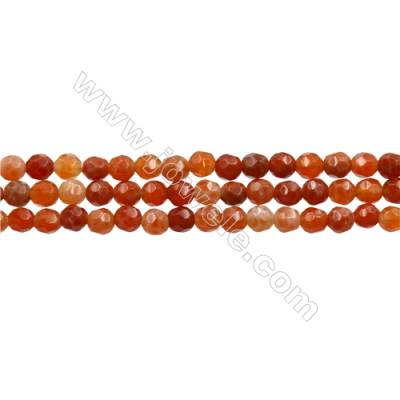 "Natural Fire Agate Faceted Beads Strands, Round, Size 4mm, Hole 0.8mm, 15~16""/strand"