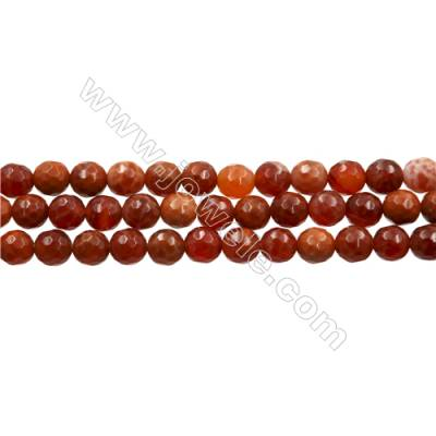 "Natural Fire Agate Faceted Beads Strands, Round, Size 6mm, Hole 0.8mm, 15~16""/strand"