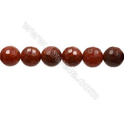 "Natural Fire Agate Faceted Beads Strands, Round, Size 11mm, Hole 1mm, 15~16""/strand"