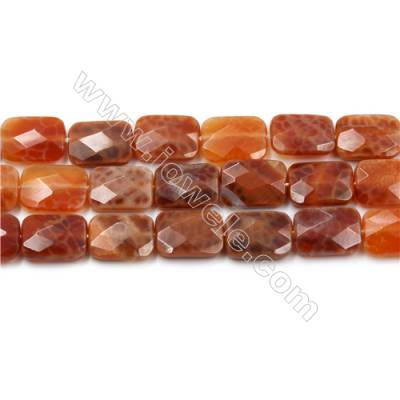 "Natural Fire Agate Faceted Beads Strands, Rectangle, Size 10x14mm, Hole 0.8mm, 15~16""/strand"