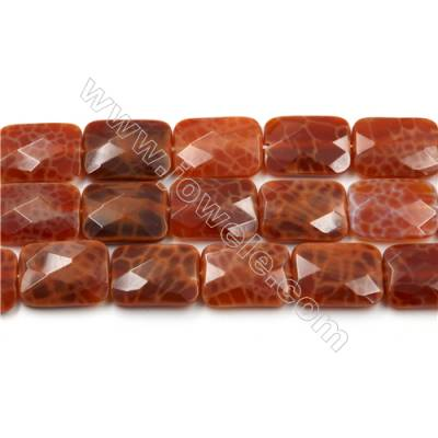 "Natural Fire Agate Faceted Beads Strands, Rectangle, Size 14x18mm, Hole 1mm, 15~16""/strand"