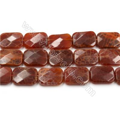 "Natural Fire Agate Faceted Beads Strands, Rectangle, Size 18x25mm, Hole 0.8mm, 15~16""/strand"