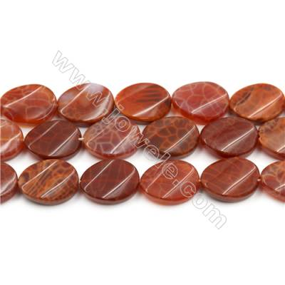 "Natural Fire Agate Beads Strands, Twisted Flat Oval, Size 15x20mm, Hole 0.8mm, 15~16""/strand"