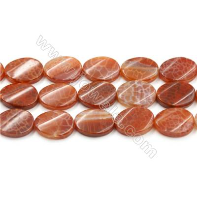 "Natural Fire Agate Beads Strands, Twisted Flat Oval, Size 18x25mm, Hole 1mm, 15~16""/strand"