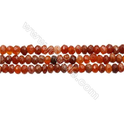 "Natural Fire Agate Beads Strands, Faceted Abacus, Size 4x6mm, Hole 1mm, 15~16""/strand"