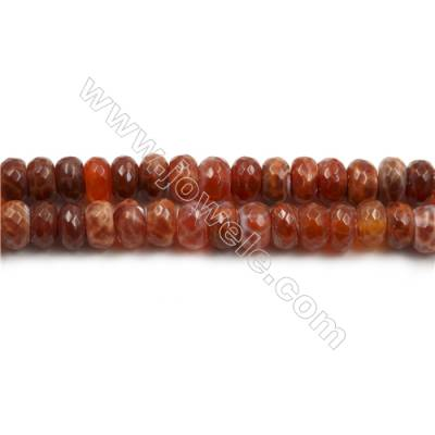 "Natural Fire Agate Beads Strands, Faceted Abacus, Size 6x10mm, Hole 1mm, 15~16""/strand"