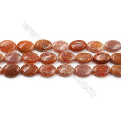 "Natural Fire Agate Beads Strands, Oval, Size 10x14mm, Hole 0.8mm, 15~16""/strand"
