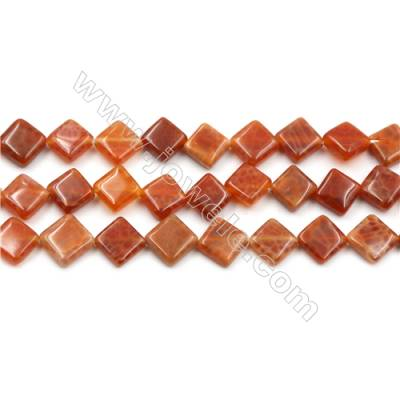 "Natural Fire Agate Beads Strand, Rhombus, Size 10mm, Hole 0.8mm, 15~16""/strand"