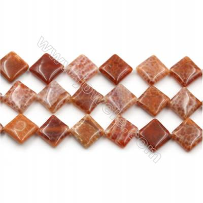 "Natural Fire Agate Beads Strand, Rhombus, Size 15mm, Hole 0.8mm, 15~16""/strand"